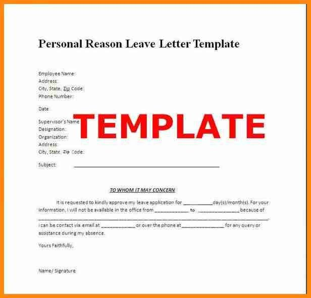 Leave Letter | Resumesample.csat.co