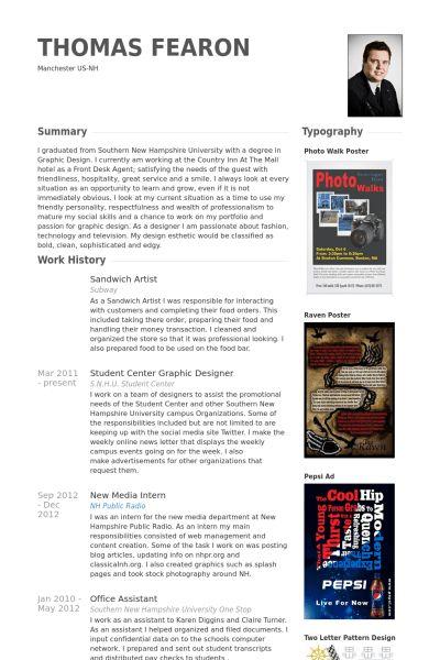 Sandwich Artist Resume samples - VisualCV resume samples database