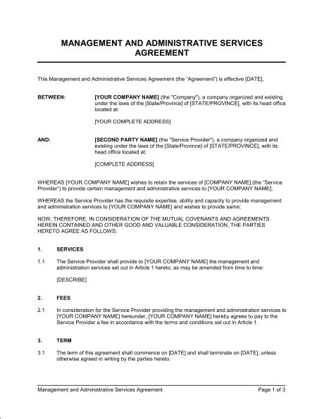 Administrative Services Agreement - Template & Sample Form ...