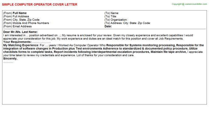 Computer Operator Job Title Docs