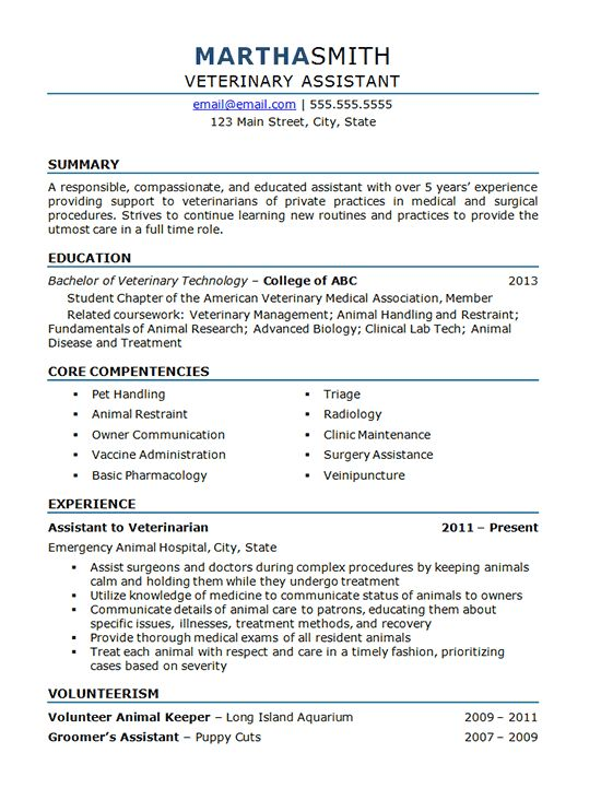 Veterinary Assistant Resume Example - Animal Hospital