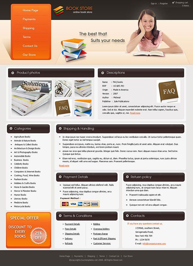 Ebay store designs for book stores
