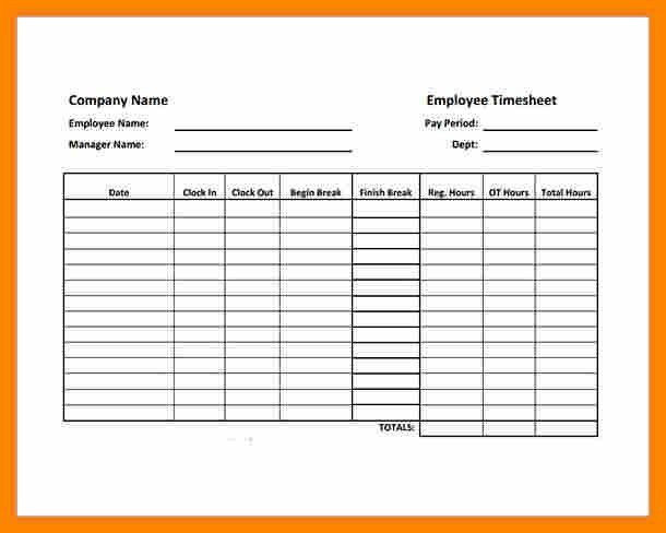 Free Blank Time Sheets [Template.billybullock.us ]