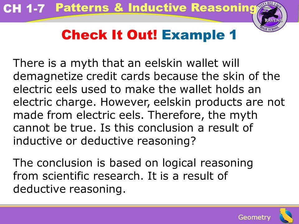 Geometry CH 1-7 Patterns & Inductive Reasoning Using deductive ...