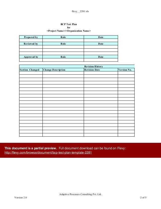 BCP Test Plan Template