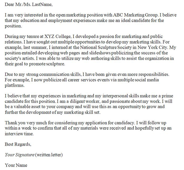sample entry level marketing cover letter. entry level marketing ...