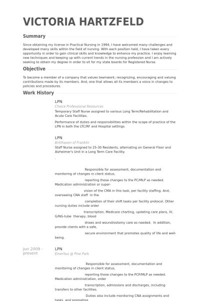 Lpn Resume samples - VisualCV resume samples database