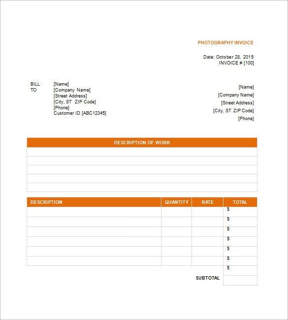 Photography Invoice Template – 6+ Free Sample, Example, Format ...