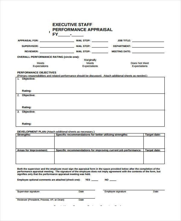 7+ Executive Performance Appraisal Form Sample - Free Sample ...