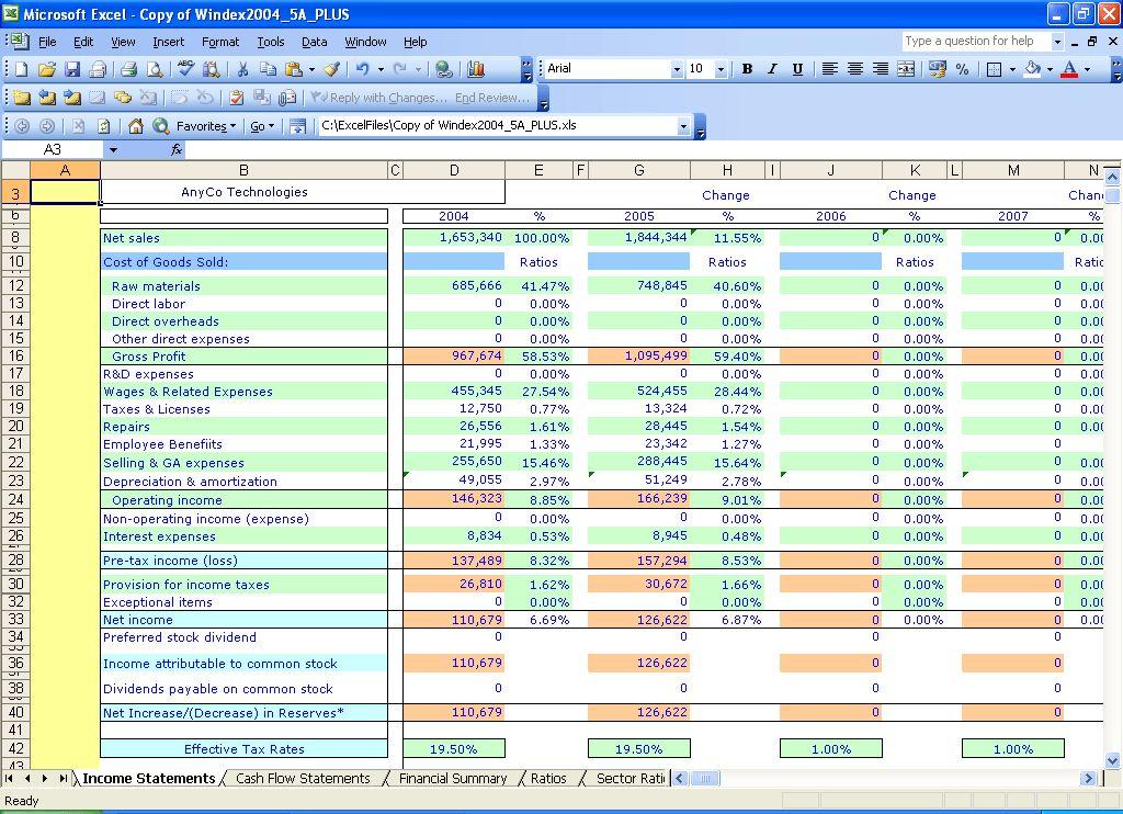 Excel templates: Windex 5 Year Financial Ratios
