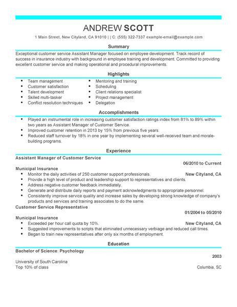 Simple Assistant Manager Resume Example | LiveCareer