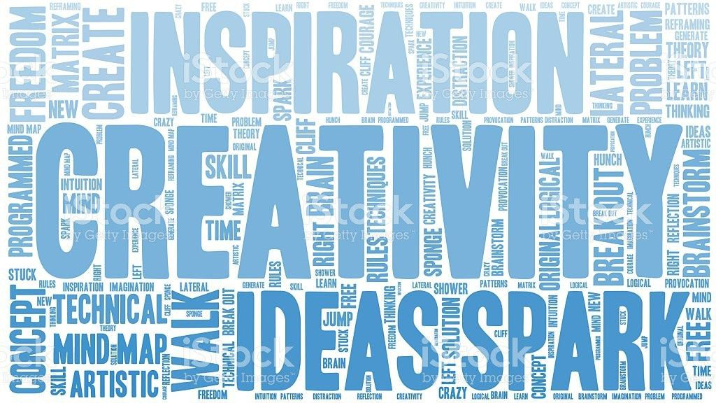 Word Cloud Creativity And Inspiration Isolated Banner stock vector ...