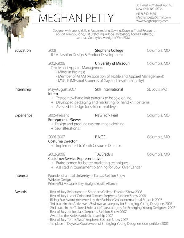 sample resume fashion designer - Google Search | Supplies ...