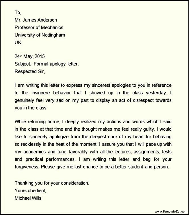 Formal Apology Letter. Formal Apology Letter Templates Business ...