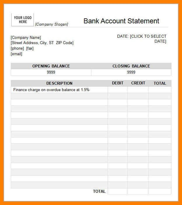 7+ bank statement template | aplication format