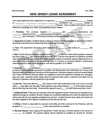 New Jersey Residential Lease Agreement | Create a Free Rental ...