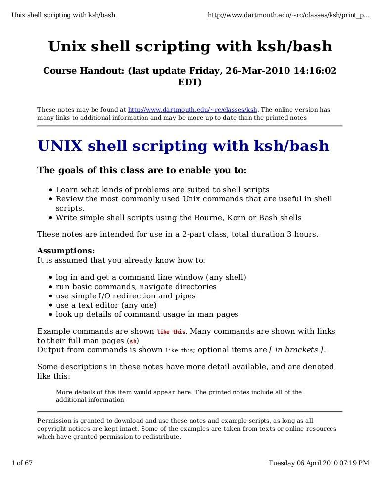 Unix Shell Script