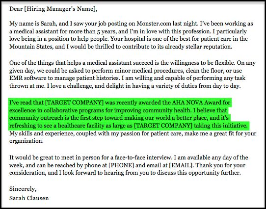 Medical Assistant Cover Letter Sample | Resume Companion