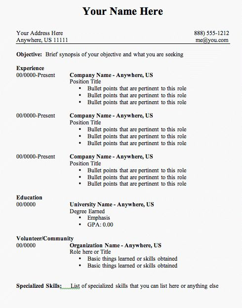 download resume outline examples haadyaooverbayresortcom - Job Resume Template Microsoft Word