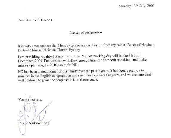 Resignation Letter Format: Appreciative Further Studies Church ...