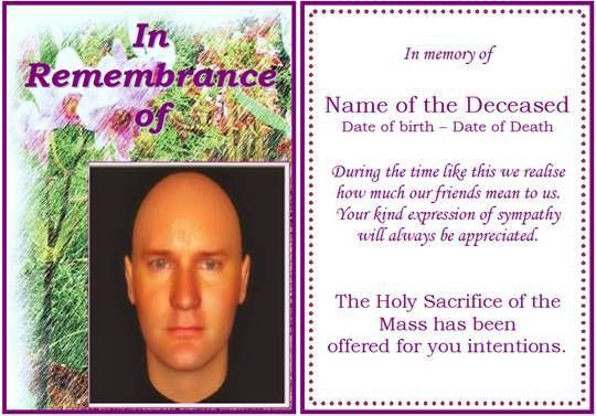 Example of Rememberance Funeral Card:Orchid