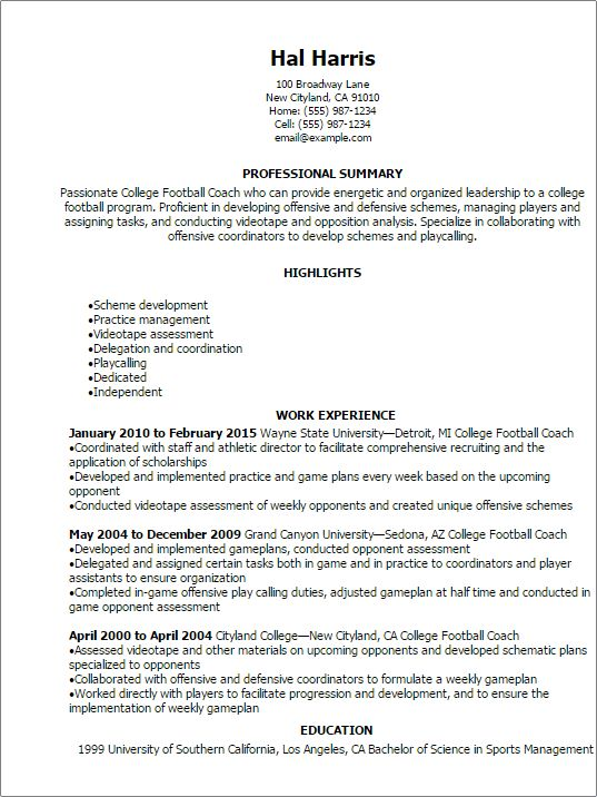 Professional College Football Coach Resume Templates to Showcase ...