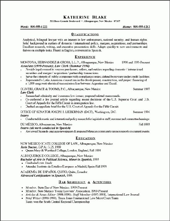 Attorney Resume Example - Sample Attorney Resume