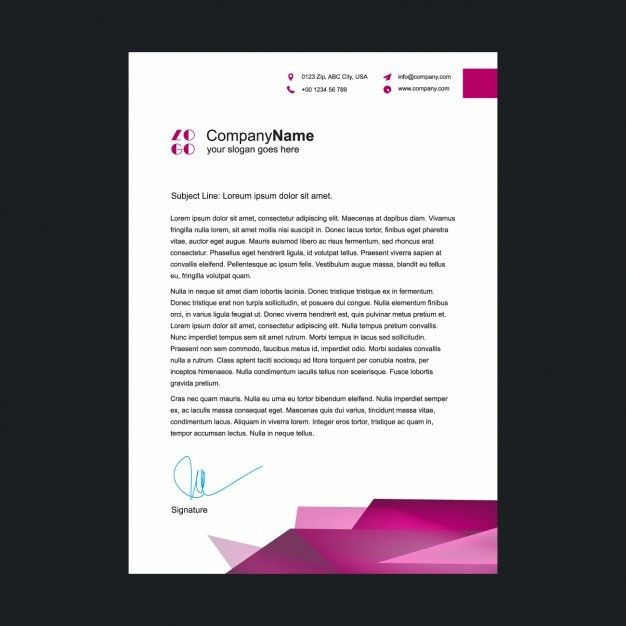 Pink letterhead template Vector | Free Download