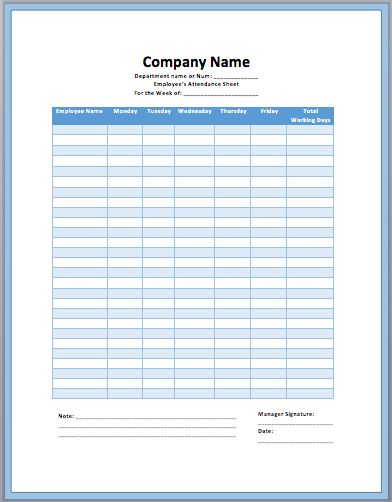 Free Download Company Attendance Sheet Template Example for ...