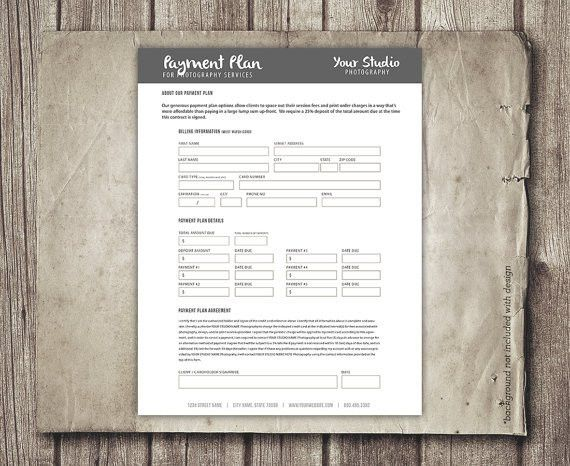 Photography Payment Plan Form Template Financial Contract