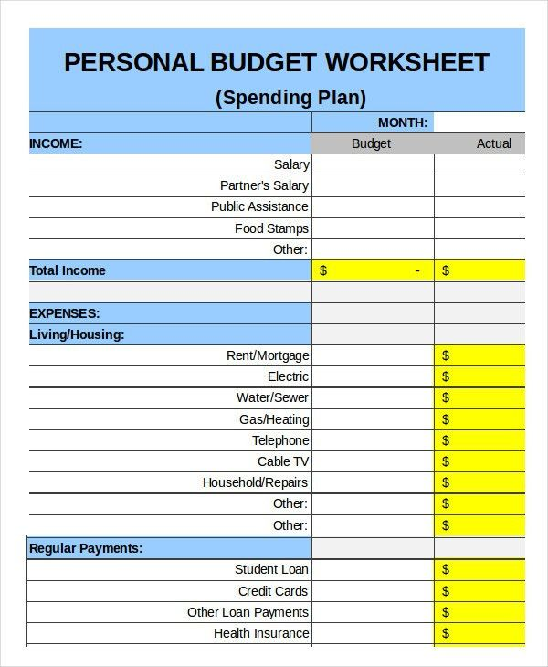 personal budget template free