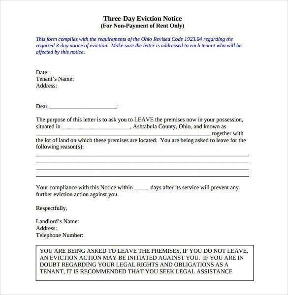 7 Eviction Letter Templates U2013 Free Sample Example Format 39 ...