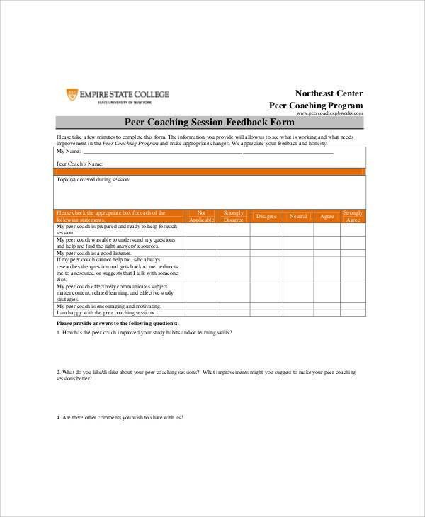 Sample Coach Feedback Form - 8+ Examples in Word, PDF