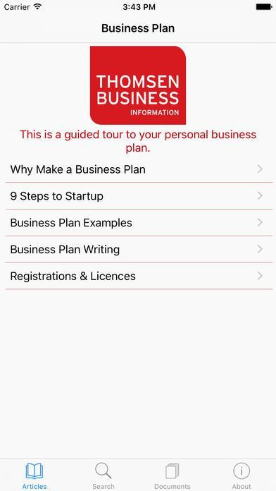 Business Plan Template for Entrepreneurs' Startups on the App Store