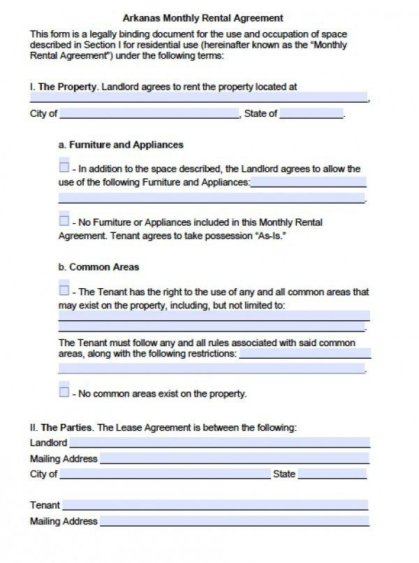 Free Arkansas Month-to-Month Lease Agreement | PDF | Word (.doc)