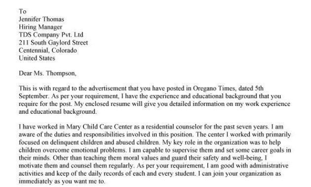 Child Counselor Cover Letter