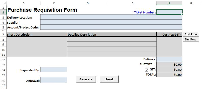 Macro Enabled Purchase Order Template - {Stott.Asia}