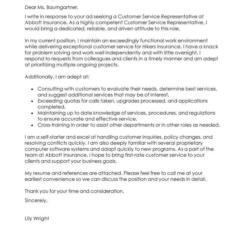 Cover Letter Examples Customer Service Representative, 8 customer ...