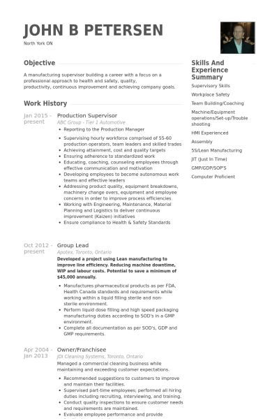 Production Supervisor Resume - uxhandy.com