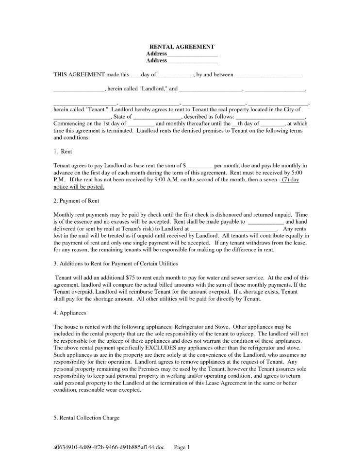 Standard Editable Rental Lease Agreement Example with Blank Space ...