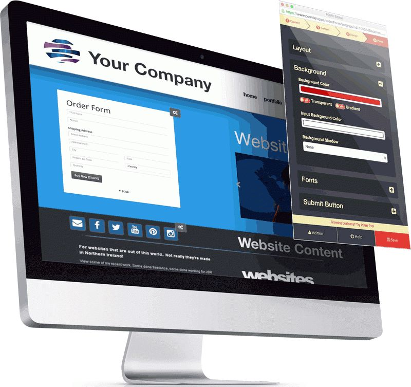 Customizable Order Form plugin for your website