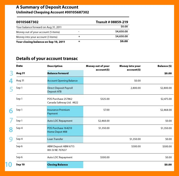 10+ bank account statement template | day care receipts