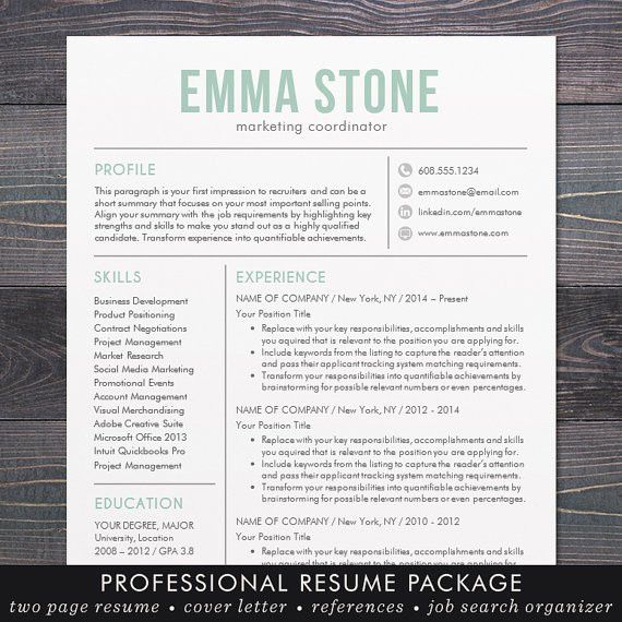 Resume Template Modern Design Mac or PC Word Free Cover