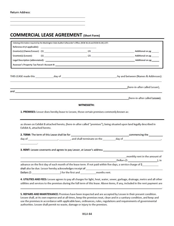 Washington Commercial Lease Agreement | LegalForms.org