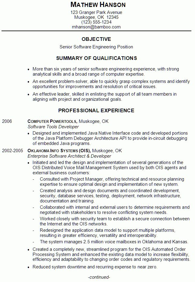 Resume Sample for a Senior Software Engineer - Susan Ireland Resumes