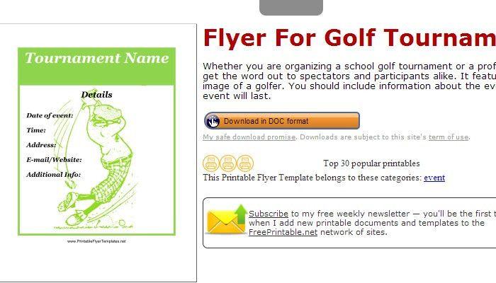 5 Free Golf Tournament Flyer Templates | AF Templates