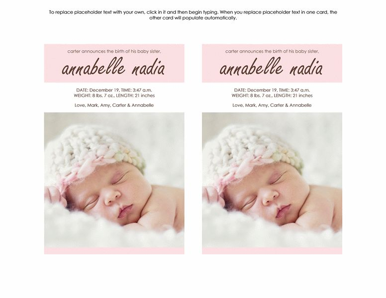 New Baby Girl Announcement - Office Templates