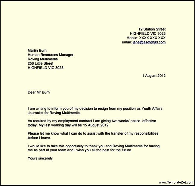 Resignation Letter Template With 2 Week Notice | TemplateZet