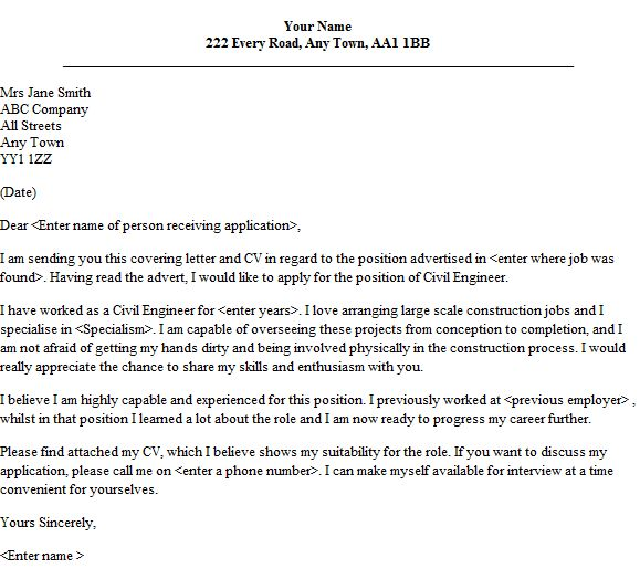 Cover letter example 1 for Civil Engineering Cover Letter - My ...