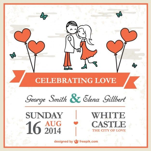 Cartoon couple wedding card template Vector | Free Download